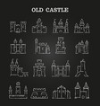 white chalk medieval castles set on blackboard vector image