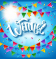 winner card stationery template on blue background vector image vector image