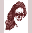 woman skull with white vector image vector image