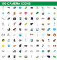 100 camera icons set cartoon style vector image vector image