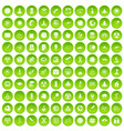 100 space icons set green circle vector image vector image