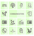 14 communication icons vector image vector image