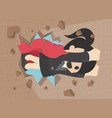 a businesswoman breaking t the wall business vector image
