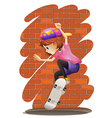 An energetic little girl skateboarding vector image vector image