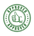 approve stamp with thumb vector image vector image