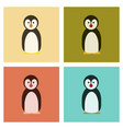 assembly flat icons nature emperor penguins vector image