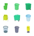 Bin icons set cartoon style vector image vector image