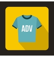 Blue t shirt with ADV inscription icon flat style vector image