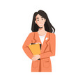 brunette longhair woman in raincoat books in hand vector image