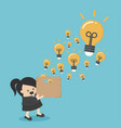 businesswoman hold boxes creativity vector image vector image