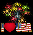 Caption I Love the USA stylized flag colors and vector image vector image