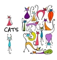 Cats collection sketch for your design vector image vector image