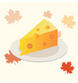 cheese piece on a plate flat icon vector image vector image