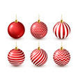 christmas tree shiny red balls set new year vector image