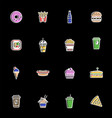 collection of fast food icons vector image vector image