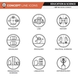 Concept Line Icons Set 10 Social sciences vector image