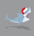 cute shark open mouth with red hat vector image vector image