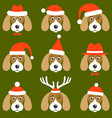 dogs with santa hats vector image vector image