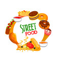 fast food round banner street cafe meals vector image vector image