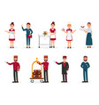flat set of hotel staff maid with clean vector image vector image