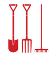 garden tool spade pitchfork and rake icons vector image