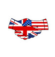 great britain and usa hand shake flags treaty vector image