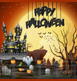 Halloween background with graveyard and castle
