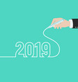 hand draws 2019 2019 happy new year greeting card vector image
