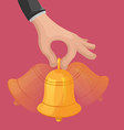 Hand Hold Shake Bell Shine vector image