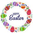 happy easter cartoon cute wreath of eggs and vector image vector image