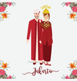 indonesian wedding couple wearing betawi jakarta vector image