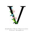 letter v watercolor floral background vector image