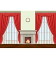 Living room interior with curtains and fireplace vector image vector image