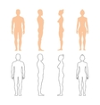 Male and female human silhouettes vector image vector image