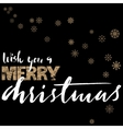 Merry Christmas gold and white lettering design on vector image