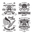 mmotorcycles emblems labels in monochrome style vector image vector image