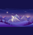 mountains and forest at night sky with clouds and vector image vector image