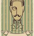 retro mustache man vector image vector image