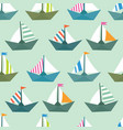 seamless pattern with colorful paper ships sea vector image vector image