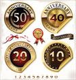Set of golden anniversary labels vector image vector image