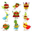 set of happy superhero fruit vector image vector image