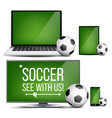 soccer application field soccer ball vector image vector image