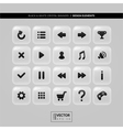 Square buttons with icons for interface vector image vector image