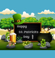 st patricks day greeting card with leprechaun hat vector image