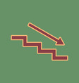 stair down with arrow cordovan icon and vector image vector image