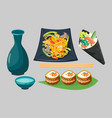 sushi japanese cuisine traditional food flat vector image vector image