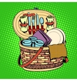 The Breakfast picnic basket nature vector image vector image