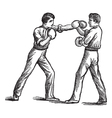 Two Boxers boxing vintage engraving vector image vector image