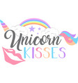 unicorn kisses isolated on white background vector image vector image