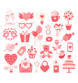valentines day flat icons isolated on white vector image vector image